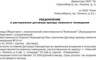Письмо арендатору об освобождении помещения за неуплату образец