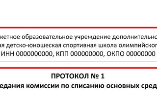 Пример протокол комиссии по списанию основных средств образец