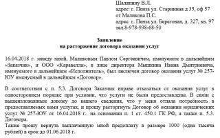 Заявление на расторжение договора услуг охраны