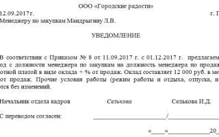 Образец уведомления увольнения в порядке перевода