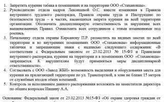 Образец приказа о наказании за курение на рабочем месте