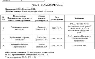 Как сделать приказ о введении листа согласования в договора