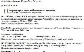 Протокол о переизбрании генерального директора на новый срок