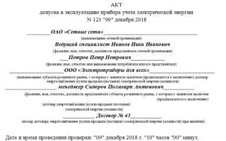 Акт ввода в эксплуатацию счетчика электроэнергии образец